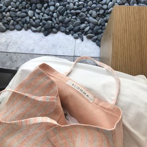 [프리오더] Lithuanian Linen Flat Bag (Orange Stripe)